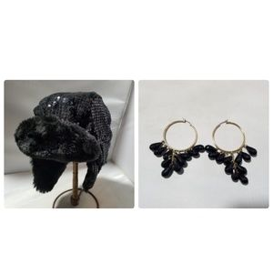 Women's Fashion Trapper Hat Black Sequin & earring